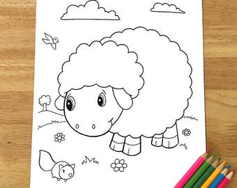 Cute Sheep Coloring Page! Downloadable PDF file!