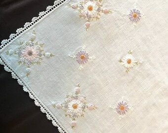Vintage Dresser Scarf or Runner Pastel Floral Details with Crocheted Edging