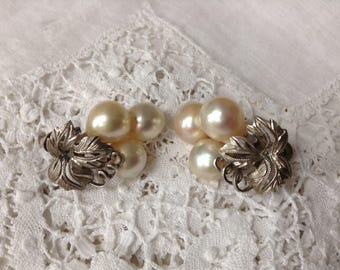 Vintage Silver and Pearl Cluster Screw Back Earrings