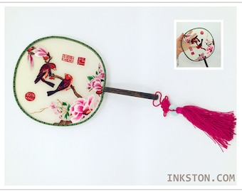 Double Sided Silk Embroidery Art Fan, birds with blossom