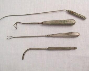 Antique Old Doctors Medical Metal Tools Equipment.