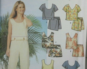 Simplicity 7234 Sewing Pattern Misses Easy Capri Pants Tank Tops Size 6 8 10 12