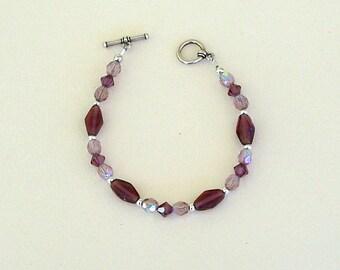 Purple Czech Glass Bead Bracelet by Carol Wilson of Je t'adorn