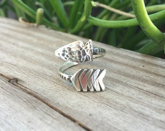 Arrow Wrap Ring in Sterling Silver. Made to order adjustable ring in your size.