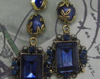 Earrings baroque deep night blue and gold