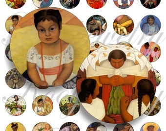 Diego Rivera images for bottle caps, pendant, buttons, scrapbook and more Vintage Digital Collage Sheet No.555