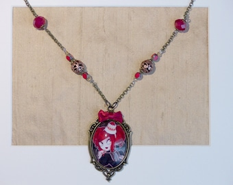 Handcrafted  Praline necklace // lolita style with a strawberry cream cake hat