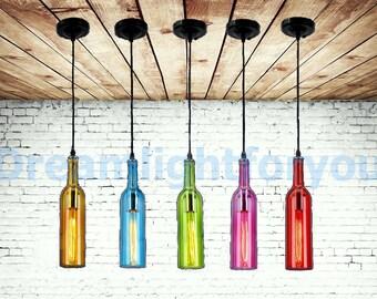 Wine bottle Pendant Light Modern Lighting Modern Chandelier Kitchen Chandelier Kitchen Island Chandelier Pendant light for bar Swag light