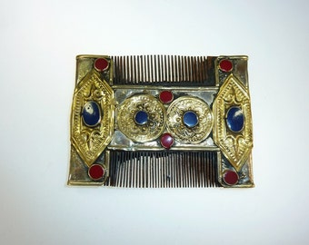 Old Kuchi Nomad Comb, Vintage silver and gold-tone Afghan Hair Accessory, Collectors Piece