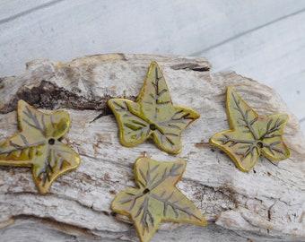 unique set, 4 leaves of Ivy, green, modeled in cold porcelain, handmade