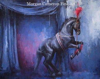 Horse Painting- Horse Art- Oil on Canvas- Equine Theater- Circus Horse- Theater Horse- Dressage- Trick Horse- Black Horse- Levade- Rearing