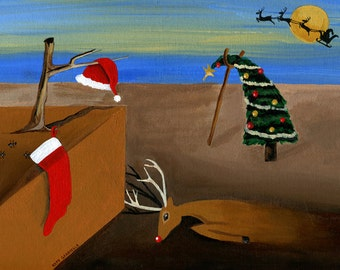 Have a Jolly Dali Christmas // Dali holiday pun art - art print