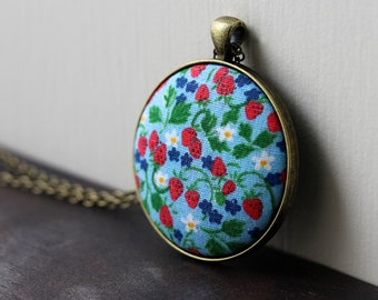 Strawberry Necklace, Gift For Gardener Or Kitchen Chef, Vintage Fabric Jewelry, Floral, Fruit, Blue and Red Pendant