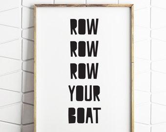 boat printable, row row boat art, nursery decor, boat wall art, boat nursery decor, boat rhyme art