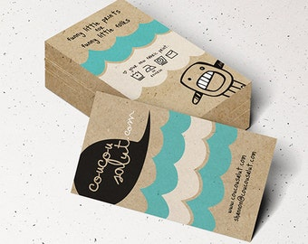 """200 Business Cards or tags 3.5""""X2"""" - printed on 32 PT THICK Kraft board/paper - with white ink - single Sided eco-friendly"""