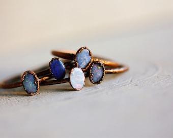 Circular Opal Ring - Opal Stacker Ring - Simple Opal Ring