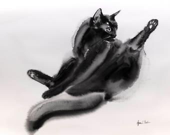 Grooming cat - original watercolor painting of a cat