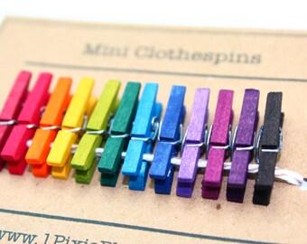 Rainbow Mini Clothespins - Set of 12