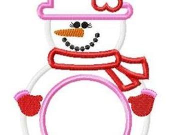 Snowgirl Machine Embroidery Applique Design