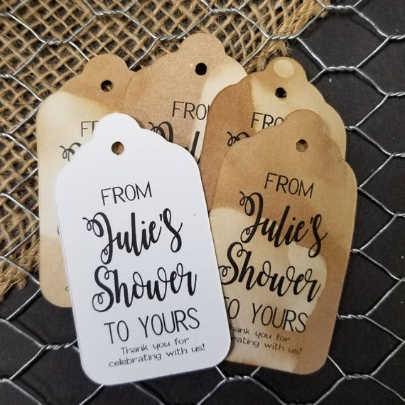 From my Shower to yours favor tag MEDIUM Tags Personalize with names Choose your Quantity MEDIUM thank you for celebrating with us
