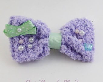 Fuzzy Lavender Hair Bow - Mint Butterfly - 2 way hair clip brooch pin