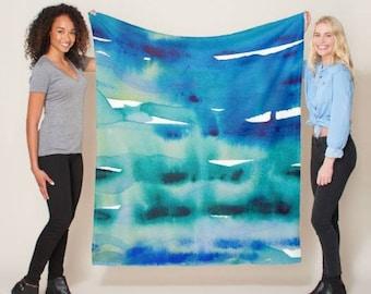 Winter fleece blanket, watercolor art rug, blue living room or bedroom accessory, abstract modern paint design throw