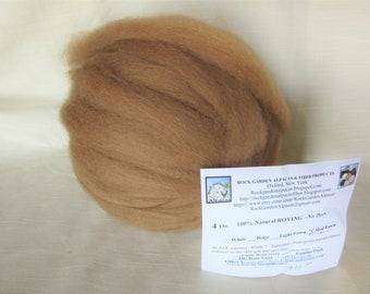 4 oz Medium Fawn Alpaca SUPERFINE (Gladiola) Roving - for Spinning, Nuno Felting or Needlefelting