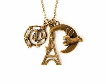 Clearance sale Bunny over the moon Eiffel tower and milky way charm necklace