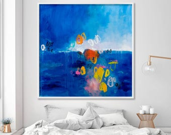 Giclee print, Abstract seascape large Art print, dark blue red yellow, canvas art, large abstract art by Duealberi