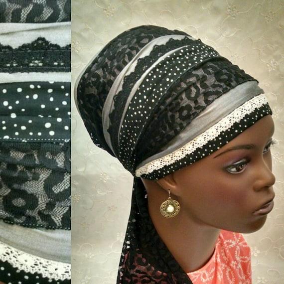 Chic stylish cotton and lace sinar tichel, tichels, head wrap, head scarf, chemo scarf, hair snood, Jewish head covering, alopecia scarg