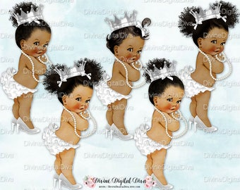 African American White Ruffle Pants High Heels Pearls Silver Crown | Afro Puffs Bun | Clipart Instant Download