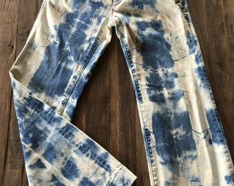 Upcycled American Eagle Bleach Dyed Jeans size 4.