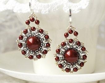 Long earrings beaded earrings swarovski earrings beadwork earrings dark red and silver earrings round earrings seed beads earrings beadwork