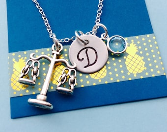Scales of Justice Necklace, Initial Necklace Lawyer Necklace Judge Necklace Paralegal Necklace Law Student Gift