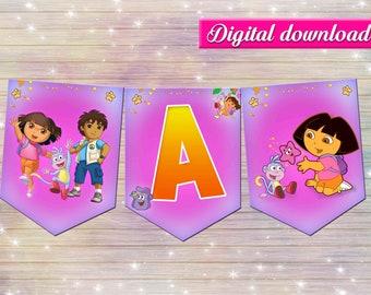 Dora the explorer banner - DIY happy birthday decoration - thank you card- digital file YOU PRINT