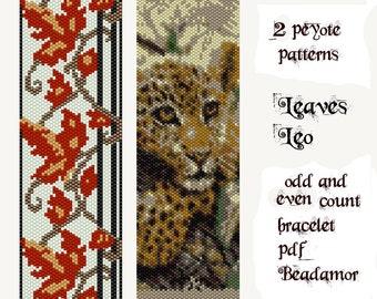 2 peyote patterns for bracelet Leaves Leopard Digital Instant Downlaod pdf