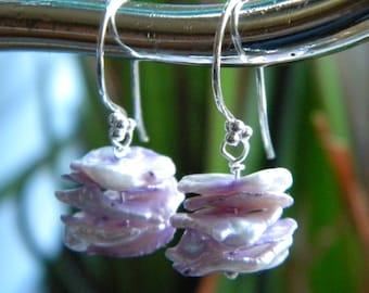"""Lavender Keishe Fresh Water Pearl Earrings, """"Cornflake"""" Pearls, Sterling Silver French Hook, Keishi Earrings, Beach, KarenWolfeCreations"""