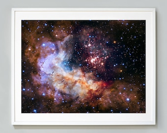 NASA Space Print, Celestial Fireworks, Westerlund 2, Hubble Space Telescope Photograph, Museum Quality Photo Art Print