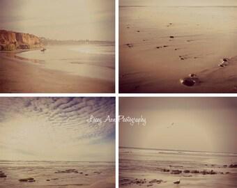 Carlsbad Beach CA Photo Set of Four San Diego photograph aged ocean