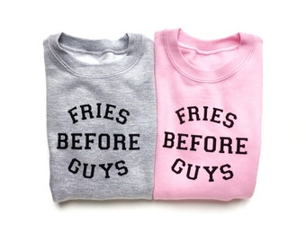 Girl Power, Gray Sweatshirt, Fries Before Guys, Kids Gift, Funny Gift for Girls, Feminist Baby, Photoshoot Accessory, Trendy Baby Clothes