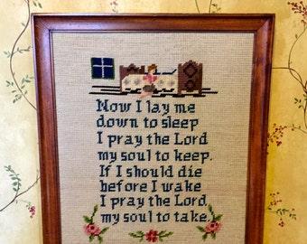 VIntage Framed, Hand Stitched , Needlepoint, Child's Prayer