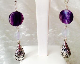 Handmade Sterling Silver, Flourite and Cape Amethyst Earrings