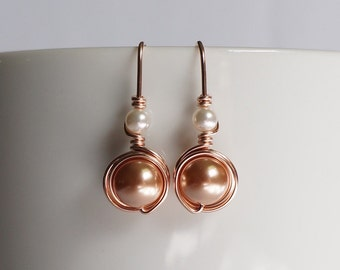 Rose Gold Pearl Earings, Pink Gold Swarovski Pearl Drop Earrings, Rose Gold Jewelry, Gift for Her