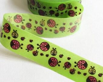 Green Beetle Washi Tape | Green Beetle Decorative Tape | Beetle Green Masking Tape 10m K15