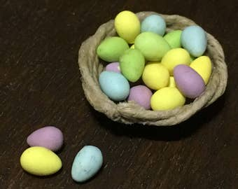 Basket of Easter eggs for dollhouse