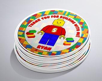 Lego Birthday Party Stickers, Lego Favors, Lego Thank You Tags, Lego Stickers, Lego Favor Tags,