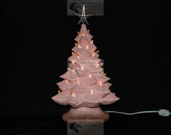 Pink Ceramic Christmas Tree 16 inch with Music Box