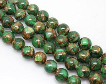 Emerald Green, Golden Pressed Jade, Round  Beads, Jade Beads, 6 8 10 12mm, (OB033)