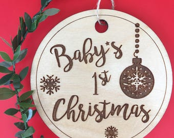 Customizeable baby ornament, baby's first christmas, custom baby ornament, first christmas