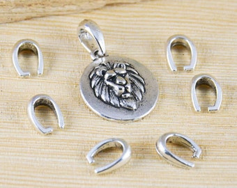 Bails - 50pcs Antique Silver Pinch Bail Beads Charms and Pendants Drop 8x11mm A306-1